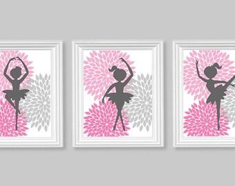 Ballerina Girl's Room, Ballerina Nursery Art, Ballet Dancer Prints, Pink and Grey, Girl's Room Art, Girl Nursery Decor, Art for Girl's Room