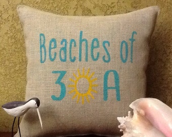 BEACHES of 30A Stenciled Burlap Pillow