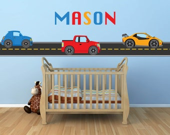 Car Decal - Construction Decal -Truck Decal- Transportation Decal - Kids Decal - Boy Wall Decal - Nursery Wall Decal - Name Wall Decals