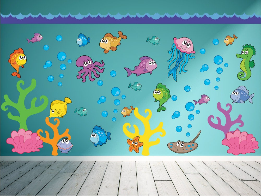 Ocean wall decal fish wall decal under the sea wall decal for Murales infantiles para preescolar