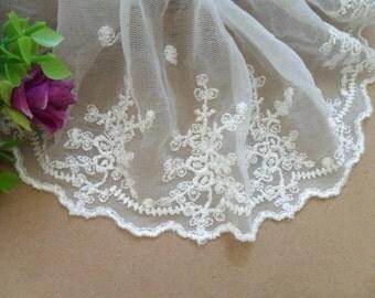 Wholesale Lot  3yard   Ivory  embroidered lace trim DIY  12cm  diy sewing doll wedding dress 4.8inch