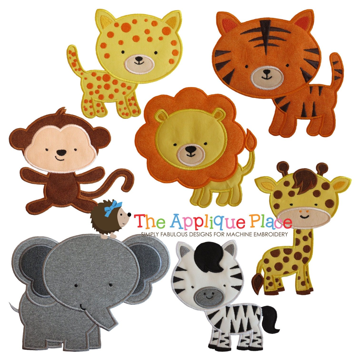 Safari animal friends applique designs instant digital