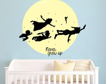 popular items for peter pan wall decal on etsy. Black Bedroom Furniture Sets. Home Design Ideas
