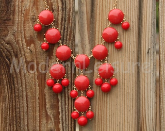 Red statement necklace Bubble necklace Bib necklace gift Chunky Necklace for holiday gift Beaded necklace for girls statement jewelry