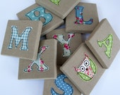 Childrens Mini Canvas Name Letters  Blue Green  Boys Room  Nursery Decor  Kids Door Letters  Door Sign  Personalised  Baby Gift  UK