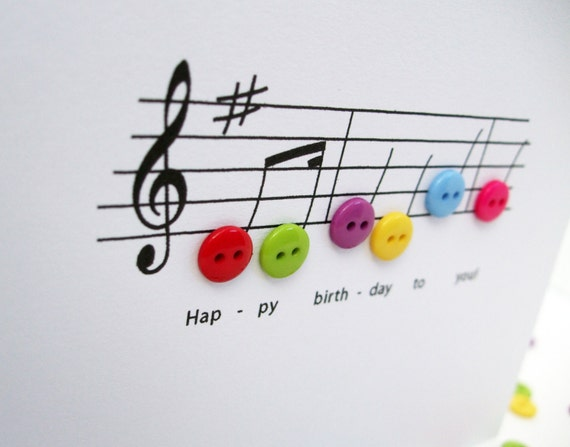 Happy Birthday Music Card - Birthday Card with Button Notes - Paper Handmade Greeting Card - Etsy UK