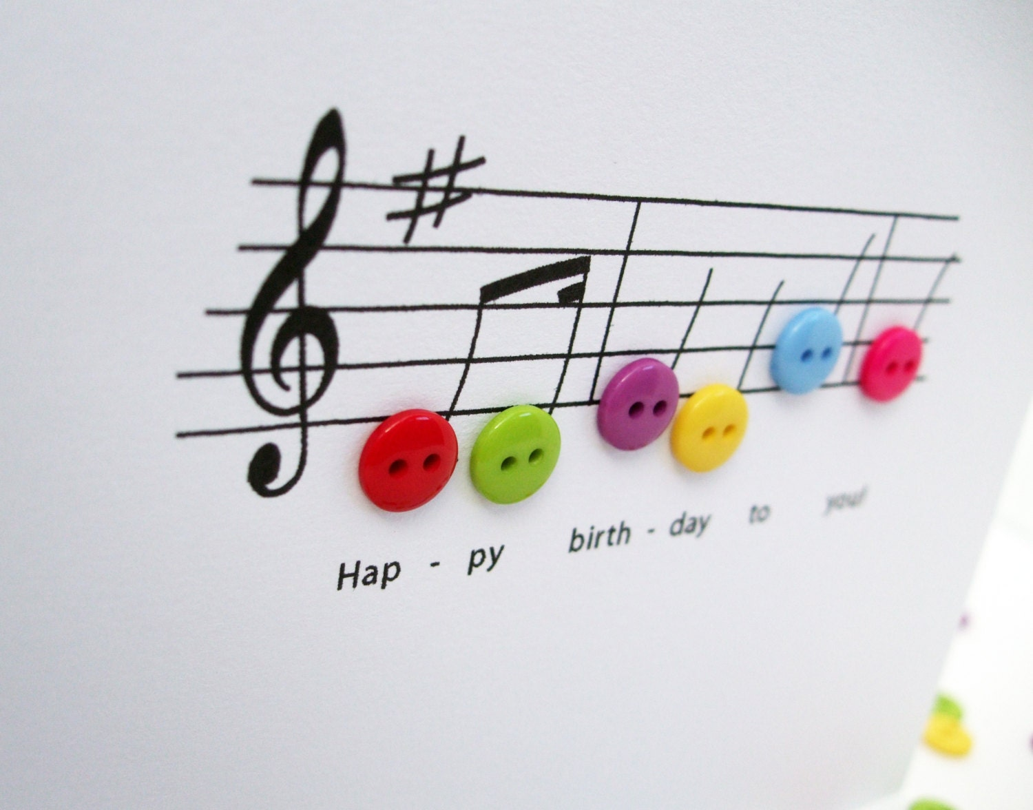 Happy Birthday Music Card Birthday Card with Button by Nikelcards