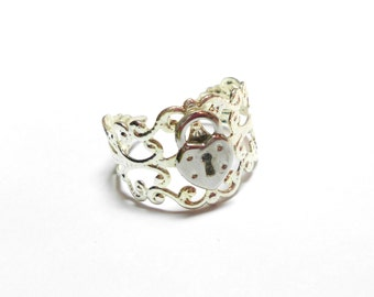 Silver Filigree Lock Ring Adjustable One Size