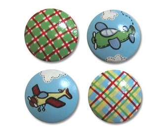 Hand Painted Boys Airplane and Gingham Drawer Knobs Nursery Cabinet Pulls