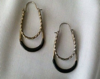 Vintage Gold Tone Two Layer Earrings with Black Enamal