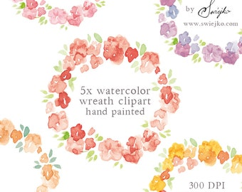 Watercolor Clipart, Floral Frame, Digital Clipart, Watercolor Flowers, Digital Frame, Floral Clipart