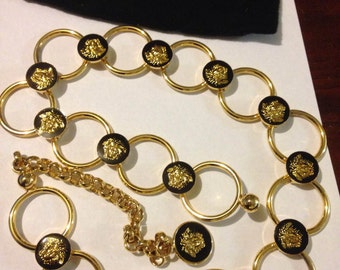 Beautiful Vintage Gold Plated & Black Enamel Gianni Versace Belt/Necklace