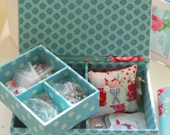 """DIY kit sewing or jewellery box  of 8.5"""" x 6.1"""" x 3.4"""" (21.5 x 15.5 x 8.5 cm), fabric covered cartonnage"""