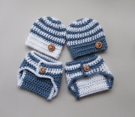 Crochet Hat Patterns For Twin Babies : Baby Twins Striped Outfits Crochet Hat and by KnittingLand