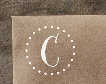 Single Letter Monogram with Polka Dot Circle, Rubber Stamp