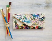 Map of America women's wallet, painted wallet, cash envelope wallet, splatter map of usa, usa wallet