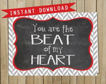 Herringbone Chalkboard Beat of My Heart, Love, Valentine's Day, Anniversary, Instant Download, Digital JPEG file