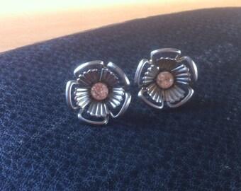Vintage flower and rhinestone earrings