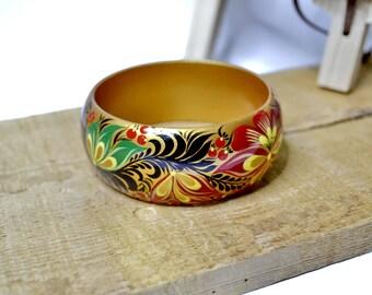 Bracelet.Wood.Hand painted Russian folk style Khokhloma painting.Made to order.