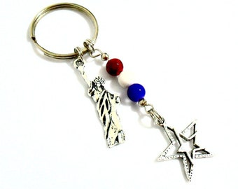 Patriotic Keychain, Statue of Liberty Keychain, New York City Key Chain, American Flag Red White Blue Jewelry on Stainless Steel Keyring
