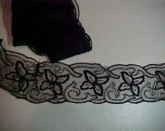 """Antique Black Net Lace, Beautiful, 66""""x2"""""""