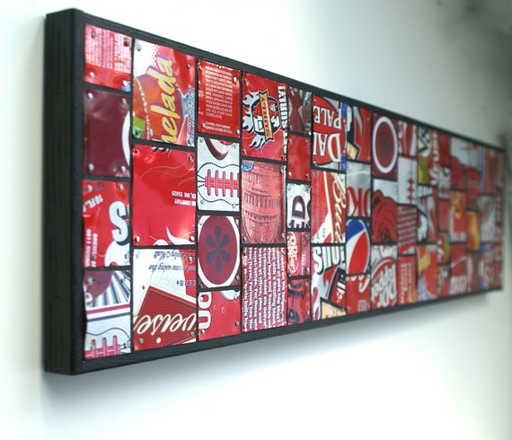 Aluminum Can Collage Wall Hanging