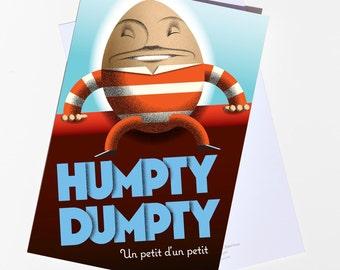Vintage style Humpty Dumpty blank greeting card