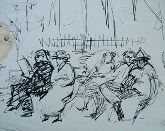 MANY CODGERS, original of men in the park, ca. 1950, original by D.Messenger, rare, coffee stain