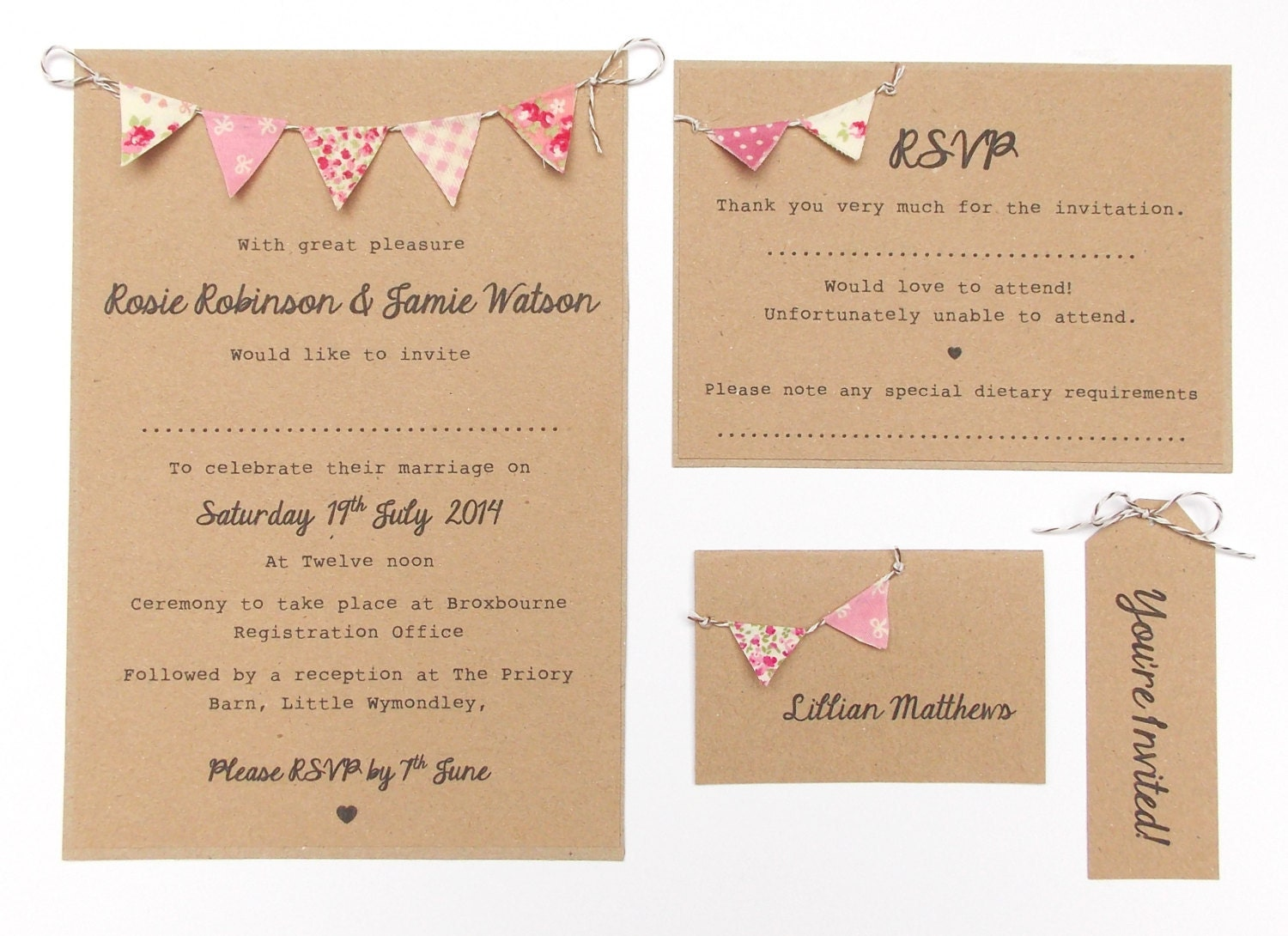 Bunting Wedding Invite: Country Bunting Wedding Invitation. 'Vintage By
