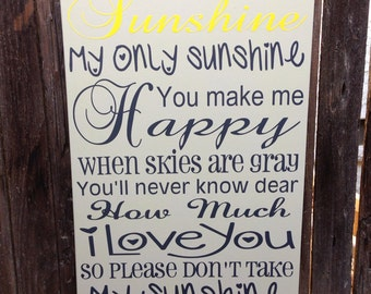 """You Are My Sunshine Wood Sign 12""""x20"""" Baby Nursery Song Baby Shower Gift Wall Art Decor"""