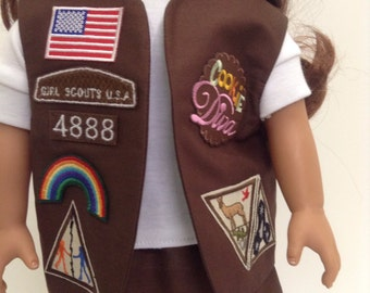 "Brownie Girl Scout Vest - Fits any 18"" & 15"" Doll"