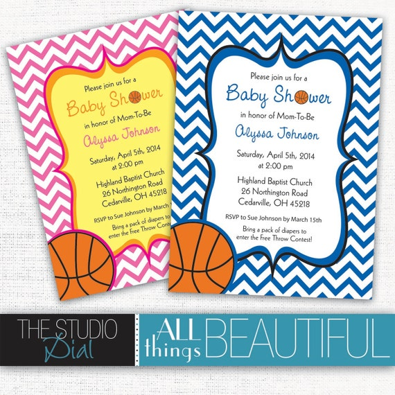 items similar to printable cute chevron basketball themed baby, Baby shower invitations