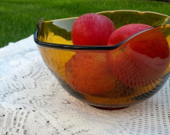 Amber Large Glass Serving Bowl