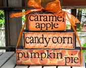 candy corn caramel apple, and pumpkin pie-handmade blocks