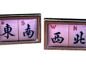 Mahjong 'The 4 Winds' Cufflinks from a vintage 1920/30's bone & bamboo mahjong set tile