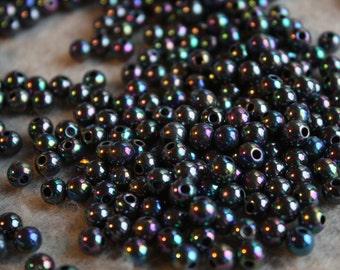 Vintage AB Rainbow Midnight Round Beads 5mm