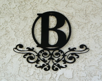Personalized Family Monogram Metal Sign - Custom metal letter sign