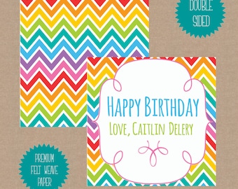 Personalized Gift Tags - Gift Cards - Gift Enclosures : Rainbow Chevron