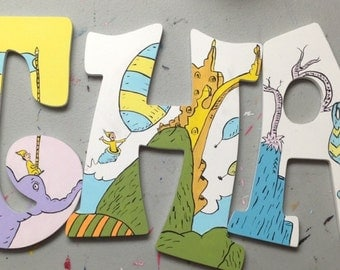 Dr. Seuss hand painted wooden letters