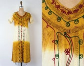 VINTAGE 1970s dip dyed embroidered indian tunic dress | Ombre ethnic festival dress
