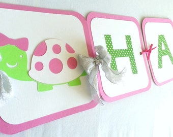 Turtle Birthday Banner pink and green Turtle party banner Happy Birthday Banner