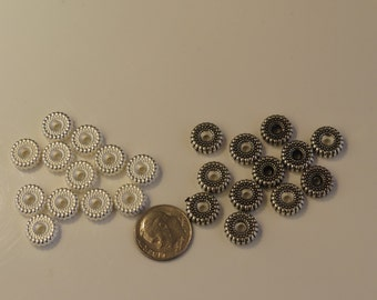 Nickel free silver, black metal  or antique gold patina spacers for jewelry.