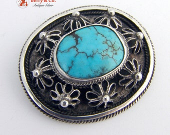 Vintage Filigree and Turquoise Brooch Sterling Silver