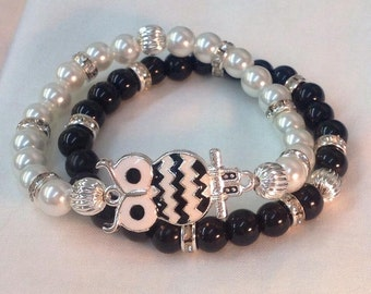 Black And White Chevron Owl Bracelet Set