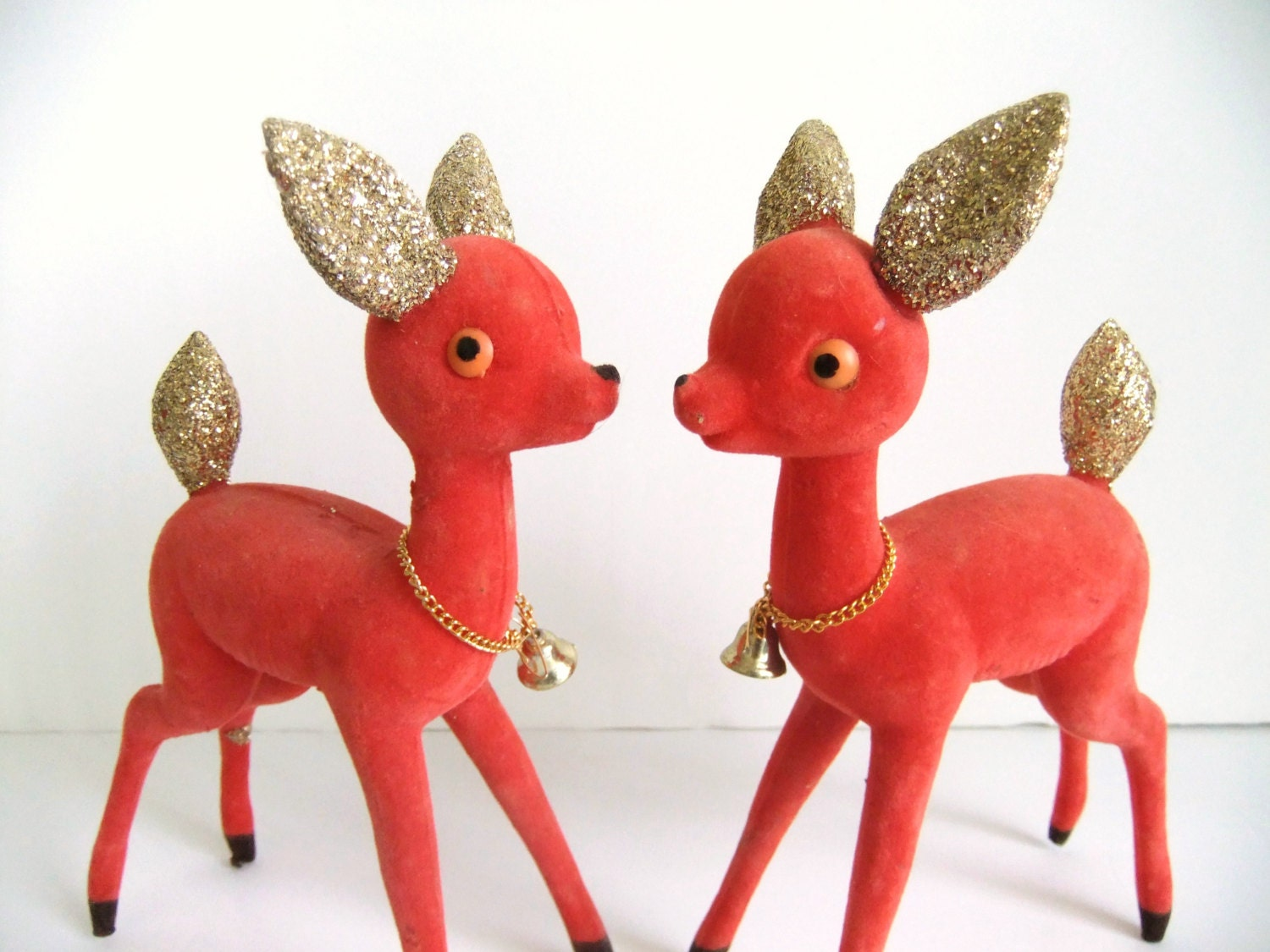 Flocked Christmas Deer Figurines Large Red Deer Gold Glitter