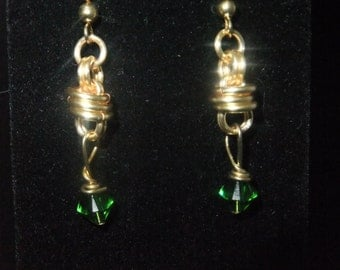 Gold Coil Drop Earrings with Green Crystals