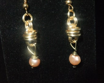 Gold Coil Drop Earrings with Orange Freshwater Pearls