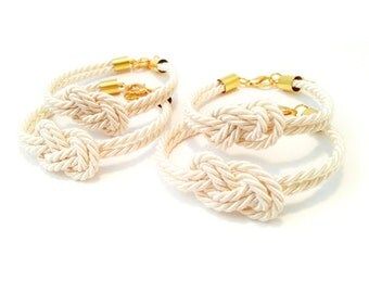 Bridesmaid Gift Set Infinity Knot Silk Rope Bracelet - Ivory Tie The Knot Bracelet - Knot Bracelet - Maid Of Honour Gift - Set of 4