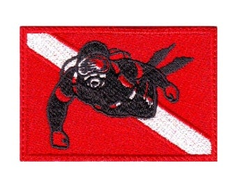 Scuba Diver Flag Embroidered  Patch