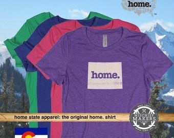 Colorado Home. T-shirt- Womens Red Green Royal Pink Purple
